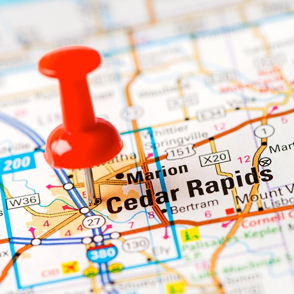 Cedar Rapids on a map